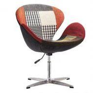 Кресло Сван, основание металл, ткань, пэчворк