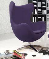 Кресло Эгг (Egg), ткань, основание металл, цвет фиолетовый, фото 2