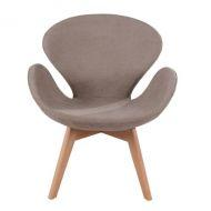 Кресло Сван Вуд Армз, мягкое, ножки дерево бук, ткань, цвет коричневый