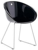 Стул Дэвис, пластиковое сиденье, хромированные ножки, цвет черный