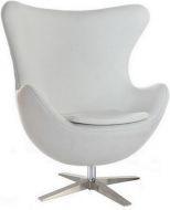 Кресло Эгг (Egg), экокожа, основание металл, цвет белый