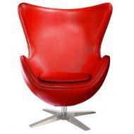 Кресло Эгг (Egg), экокожа, цвет красный