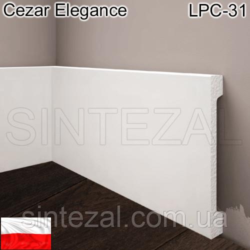 Широкий белый плинтус Cezar Elegance LPC-31, H=119 мм.
