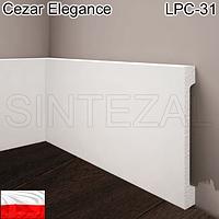Широкий белый плинтус Cezar Elegance LPC-31, H=119 мм., фото 1