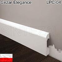 Плинтус из белого дюрополимера Cezal Elegance LPC-04, 14х50 мм.