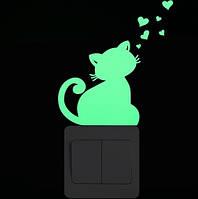 """Люминесцентная наклейка """"Кот"""" - 10*10см"""