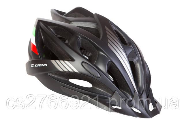 Шлем велосипедный с козырьком СIGNA WT-036 L (58-61см) (черный) , фото 2
