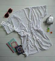 Белая пляжная туника-халат для девочки S-L р