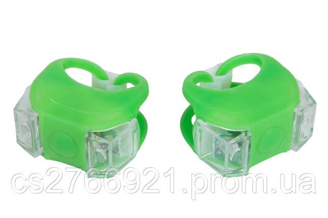 Мигалка 2шт BC-RL8002 белый+красный свет LED силиконовый (зеленый корпус) , фото 2