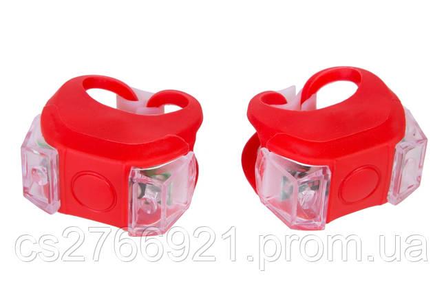 Мигалка 2шт BC-RL8002 белый+красный свет LED силиконовый (красный корпус) , фото 2