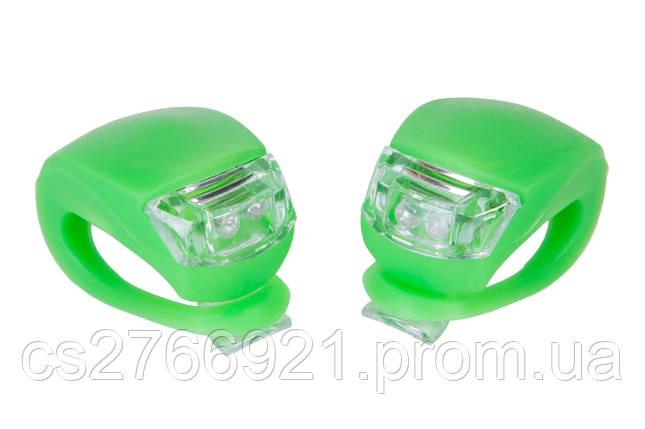 Мигалка 2шт BC-RL8001 белый+красный свет LED силиконовый (зеленый корпус) , фото 2