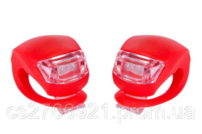 Мигалка 2шт BC-RL8001 белый+красный свет LED силиконовый (красный корпус) , фото 2