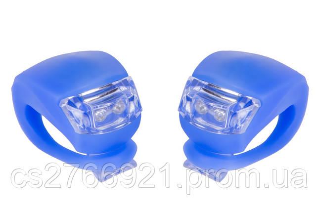 Мигалка 2шт BC-RL8001 белый+красный свет LED силиконовый (синий корпус) , фото 2
