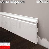 Белый плинтус под покраску Cezar Elegance LPC-07, H=80 мм.