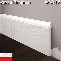 Белый плинтус под покраску Cezar Elegance LPC-15, H=81 мм.