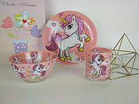 Набор детской посуды из стекла для девочек Пони 3 предмета
