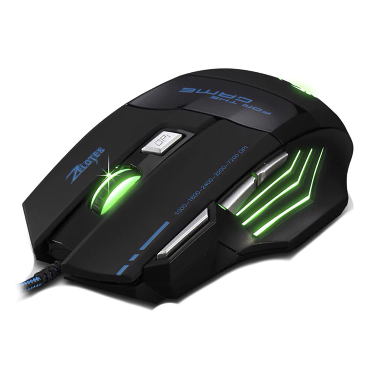 ➤Игровая Мышь ZELOTES T-80 черная LED подсветка 5500 DPI дополнительные кнопки USB 2.0 компьютерная ПК