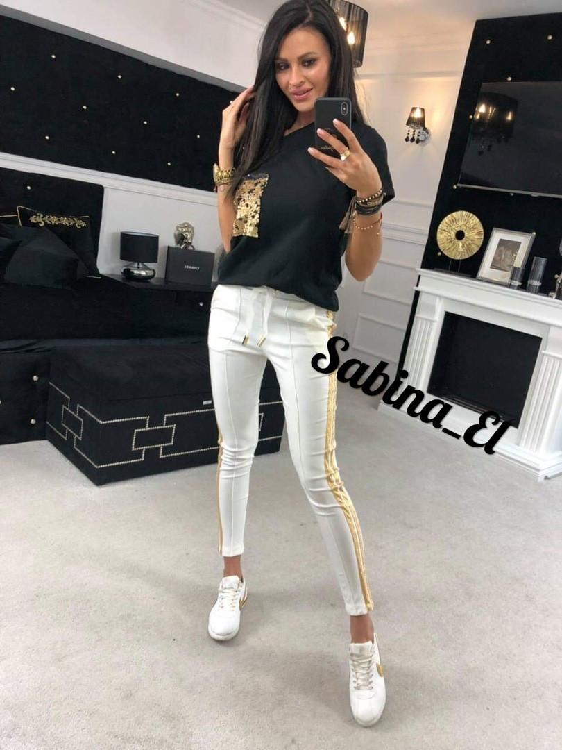 Стильний костюм двійка лосини+футболка, чорний+білий