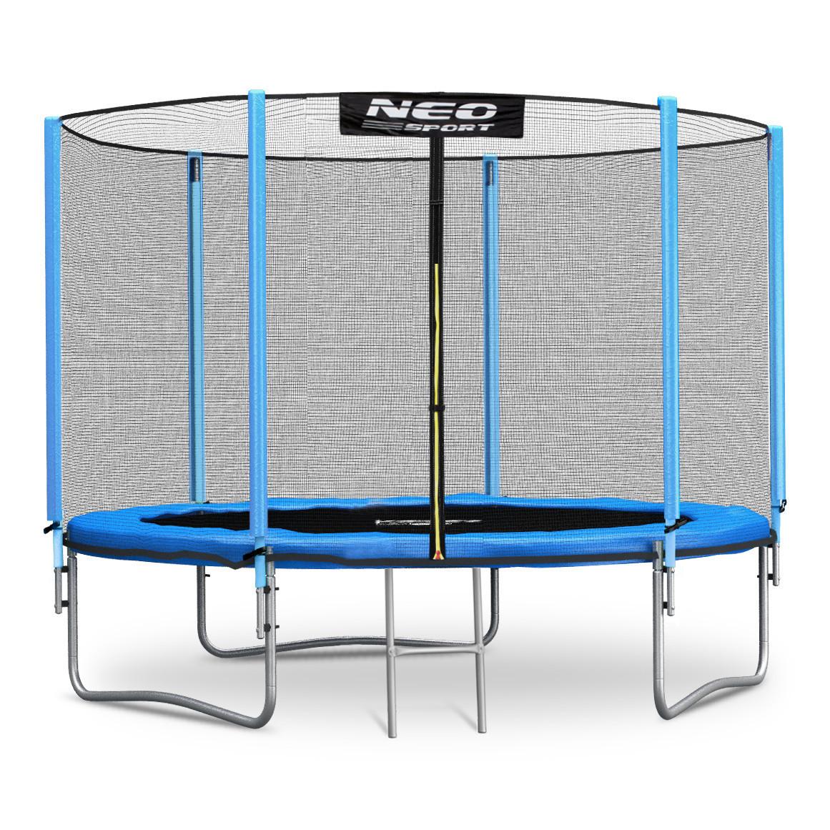 Садовый батут Neo-Sport 10ft/312 см для всей семьи с усиленной рамой внешней сеткой и лестницей