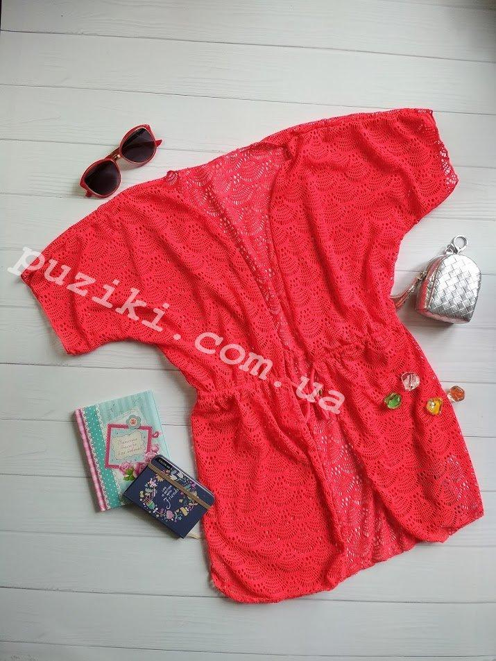 Пляжная туника-халат красная для девочки S-L р