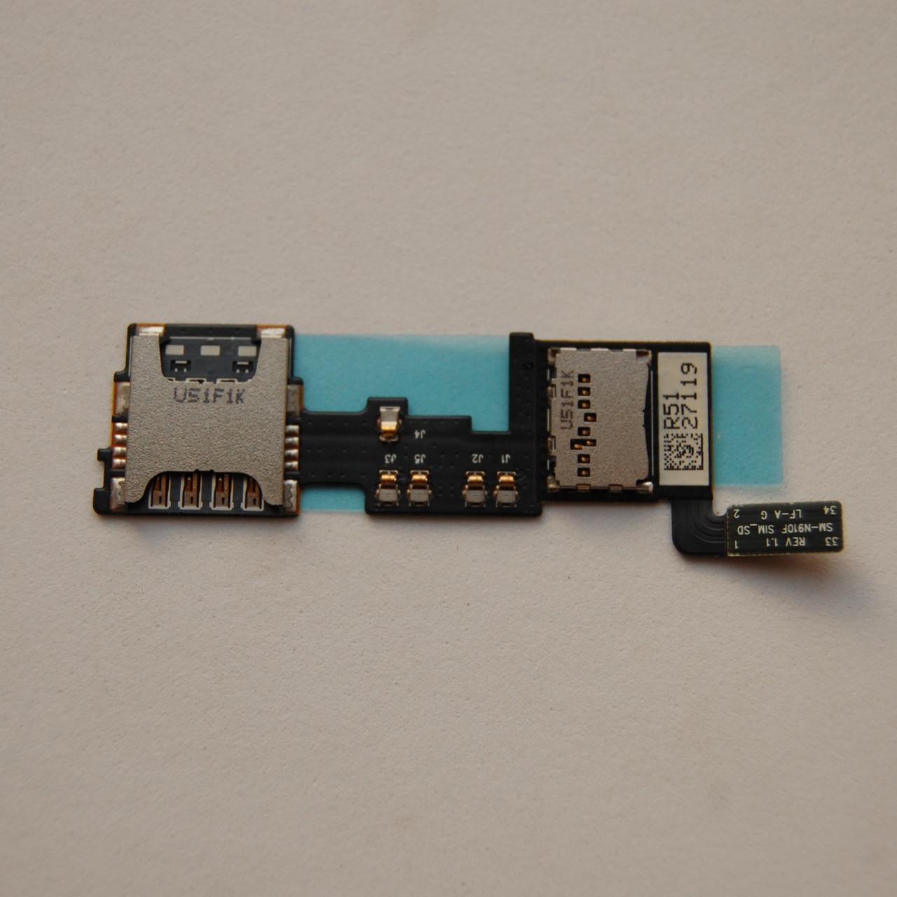 Держатель sim-карты Samsung N910 Galaxy Note 4 c коннектором карты памяти