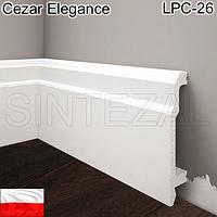 Белый плинтус из дюрополимера Cezar Elegance LPC-26, H=103 мм.