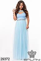 Платье вечернее со стразами и вышивкой голубое