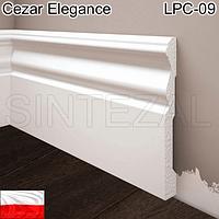 Высокий белый плинтус Cezar Elegance LPC-09, H=119 мм.