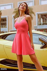 Модное платье мини юбка солнце клеш без рукав на бретелях светло коралловое