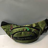 Поясная сумка зеленая Supreme 2 отделения (Бананка, Сумка на пояс, сумка на плечо), фото 1