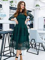 Изысканное кружевное платье,темно-зеленое S M L XL