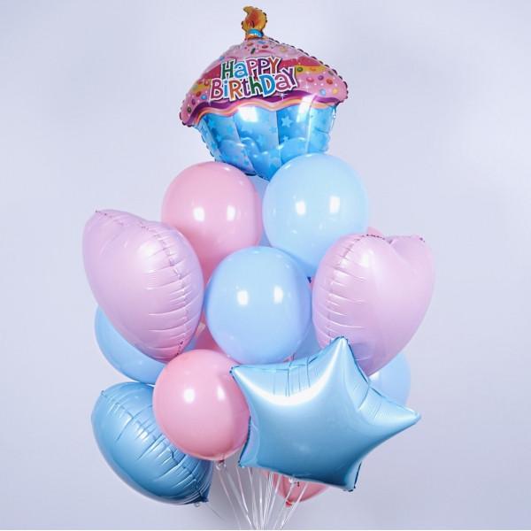 """Композиція """" Happy birthday кексик 15 шт"""