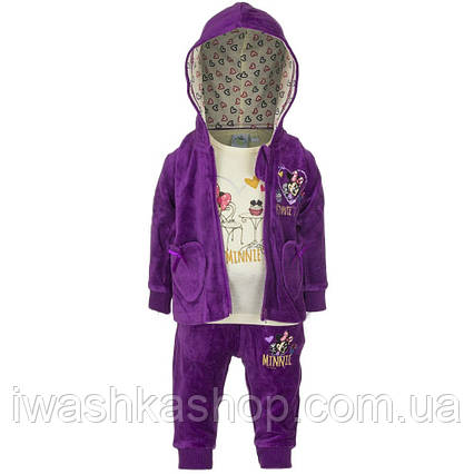 Велюровый фиолетовый комплект, толстовка, лонгслив, штаны Минни Маус на девочку 12 мес., р. 74, Disney baby