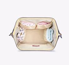 ➘USB-cумка Maikunitu Mummy Bag Blue + White для молодых мам путешествий водонепроницаемая с термокарманами USB, фото 3