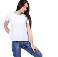 🌺 Однотонная базовая белая футболка женская однотонная