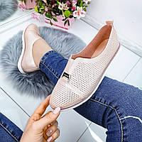 Женские туфли мокасины розовые, прессованная кожа, фото 1