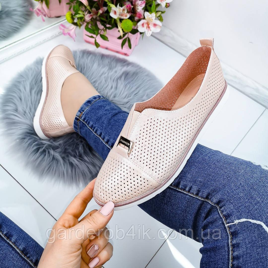 Женские туфли мокасины розовые, прессованная кожа