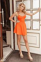 Яркое платье короткое юбка солнце клеш без рукав на бретельках оранжевого цвета