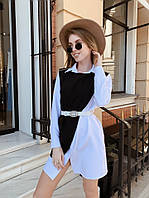 Платье- рубашка с накидкой, ткань: креп-костюмка. Размер: С(42-44)М(44-46). Цвет: голубой (6394)