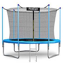 Садовий батут Neo-Sport 8ft/252 см для всієї родини з внутрішньої сіткою посиленою рамою і сходами