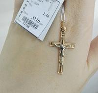 Золотой крестик с прямым распятием