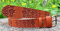 Шкіряний ремінь з візерунком Вишиванка, фото 1