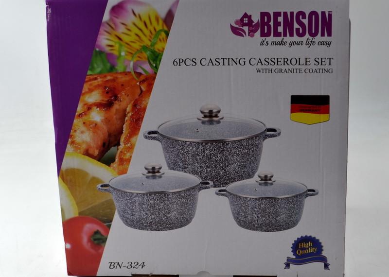 Набор кастрюль с крышками (6 предметов) Benson BN-324 с мраморным покрытием