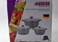 Набор кастрюль с крышками (6 предметов) Benson BN-324 с мраморным покрытием, фото 1