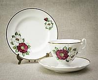 Чашка блюдце тарелка, фарфор. Англия, Knowsley BONE CHINA, фото 1