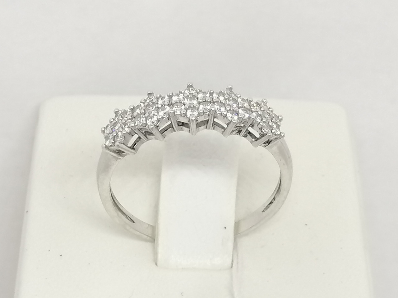 Серебряное кольцо Корона в камнях с фианитами. Артикул 1007/1Р-CZ 18,5
