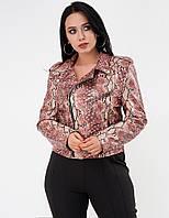 Куртка из экокожи со змеиным принтом