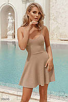 Красивое платье мини юбка солнце клеш без рукав на бретельках бежевого цвета