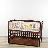 Бортики подушки в кроватку новорожденного Милые совы бежевого цвета