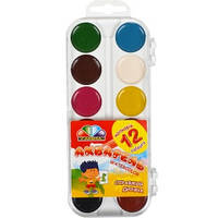 """Акварель 12 кольорів """"Гамма"""" пластик 17*7,5см"""